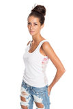 Girl in jeans and a white T-shirt Royalty Free Stock Photography