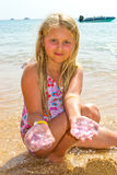 Girl with jellyfish Stock Photos