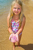 Girl with jellyfish Stock Image