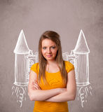 Girl with jet pack rocket drawing illustration Stock Images