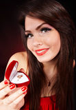 Girl with  jewellery gift box.  Valentines day. Royalty Free Stock Image