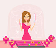 Girl and jewelry. Illustration Royalty Free Stock Photo