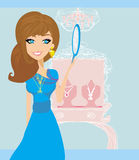Girl and jewelry Stock Images