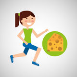 Girl jogger cheese healthy lifestyle Stock Photography