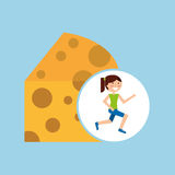 Girl jogger cheese healthy lifestyle Stock Image