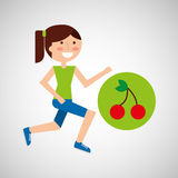 Girl jogger cherry healthy lifestyle Stock Image