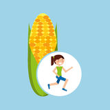 Girl jogger corn cob healthy lifestyle Royalty Free Stock Photography