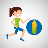 Girl jogger corn cob healthy lifestyle Stock Image