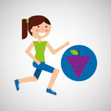 Girl jogger grape healthy lifestyle Royalty Free Stock Images