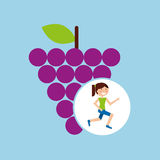 Girl jogger grape healthy lifestyle Stock Photography