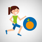 Girl jogger orange healthy lifestyle Stock Images