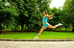 Girl jogging Stock Photo