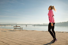 Girl jogging Stock Photos