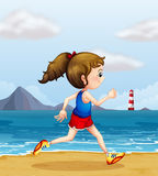 A girl jogging at the beach. Illustration of a girl jogging at the beach Stock Images