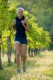 Girl jogging in the vineyard Royalty Free Stock Photo