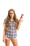 Girl with a jointer Stock Photography
