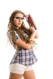Girl with a jointer Royalty Free Stock Photo