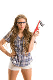 Girl with a jointer Royalty Free Stock Photos