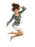 girl joy jumping over white Στοκ Εικόνες