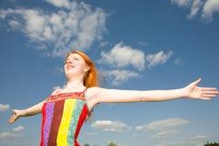Girl joy summer Stock Photo
