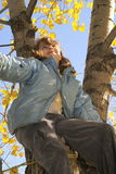Girl Joy Tree Autumn 2. A young girl climbs a tree in the cool fall air to be nearer the fall leaves Royalty Free Stock Image