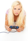 Girl with a joystick Royalty Free Stock Image