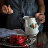 A girl with jug and guelder-rose. Royalty Free Stock Photography
