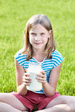 Girl with a jug of milk Stock Photo