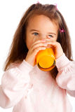 Girl with juice Royalty Free Stock Photos
