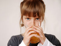 Girl with juice Stock Photo
