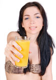 Girl with juice Royalty Free Stock Images