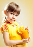 Girl with juice Stock Photography