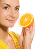Girl with juicy orange. Beautiful girl with juicy orange Stock Photo