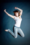 Girl in a jump Stock Image