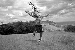 Girl in jump Stock Photos