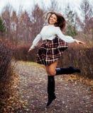 girl jump royaltyfria foton