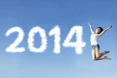 Girl jump announce Happy New year Royalty Free Stock Photography
