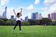 Girl jump in the Central Park of New York Stock Photos