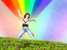 Girl jump in a grass field with rainbow. Young 3d woman jumping in a grass field with rainbow background Stock Photos
