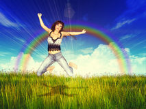 Girl jump in a grass field with rainbow Stock Photography