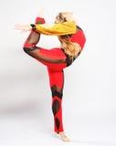 Girl jump in gymnastics dance Royalty Free Stock Image