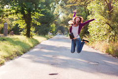 Girl in jump Stock Images