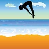 Girl jump into the sea vector Stock Photos