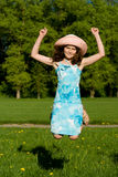 The girl jumped, in nature Royalty Free Stock Image