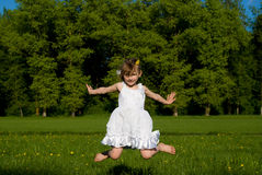 The girl jumped, in nature Royalty Free Stock Photos