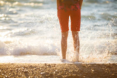 Girl jumped into sea water Royalty Free Stock Photos