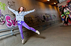 Girl jumping Stock Photography