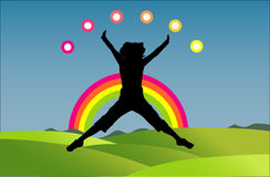 Girl jumping. In a beatifull rainbow day royalty free illustration