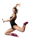 Girl jumping. Sport style girl in black swimsuit jumping Royalty Free Stock Photography