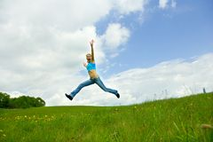 The girl jumping Royalty Free Stock Photos